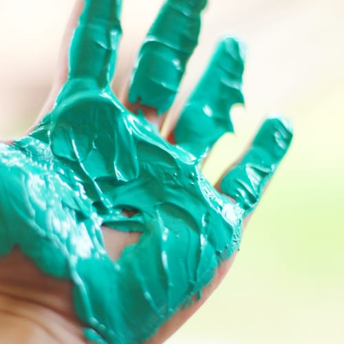 hand with paint